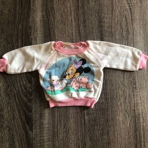 Vtg Minnie Mouse Lamb Pink White Sweatshirt 1984